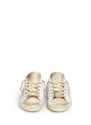 Front View - Click To Enlarge - Golden Goose - 'Superstar' distressed metallic suede leather sneakers