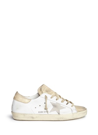 Main View - Click To Enlarge - Golden Goose - 'Superstar' distressed metallic suede leather sneakers
