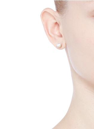 Figure View - Click To Enlarge - Shihara - 'Half Pearl 45°' Akoya pearl 18k yellow gold single stud earring