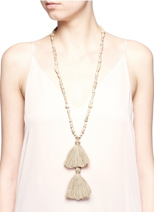 Figure View - Click To Enlarge - Isabel Marant - 'Berbere' beaded wood tassel necklace