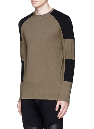 Front View - Click To Enlarge - Neil Barrett - Quilted panel long sleeve T-shirt