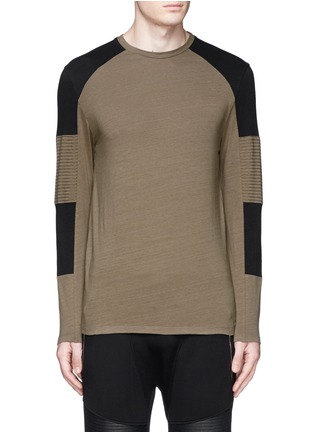 Main View - Click To Enlarge - Neil Barrett - Quilted panel long sleeve T-shirt