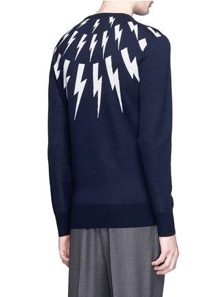 Back View - Click To Enlarge - Neil Barrett - Thunderbolt intarsia Merino wool sweater