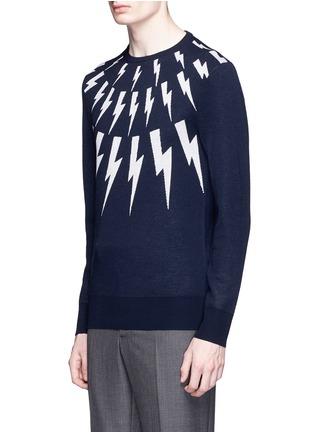 Front View - Click To Enlarge - Neil Barrett - Thunderbolt intarsia Merino wool sweater
