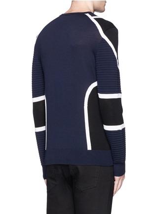 Back View - Click To Enlarge - NEIL BARRETT - Biker ribbing Merino wool sweater