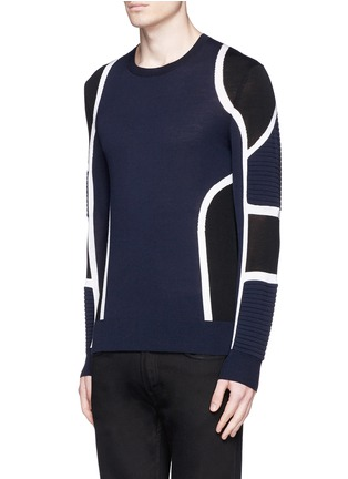 Front View - Click To Enlarge - NEIL BARRETT - Biker ribbing Merino wool sweater