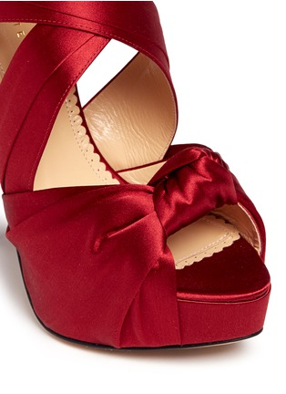 Detail View - Click To Enlarge - Charlotte Olympia - 'Andrea' silk satin platform sandals