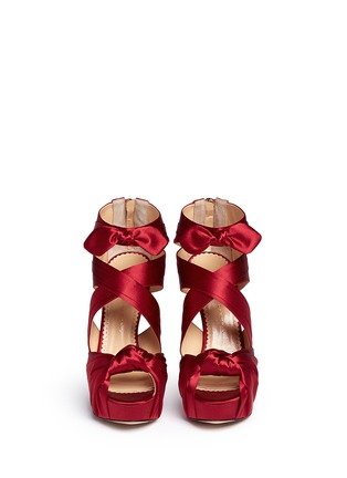 Front View - Click To Enlarge - Charlotte Olympia - 'Andrea' silk satin platform sandals