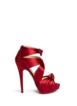 Main View - Click To Enlarge - CHARLOTTE OLYMPIA - 'Andrea' silk satin platform sandals