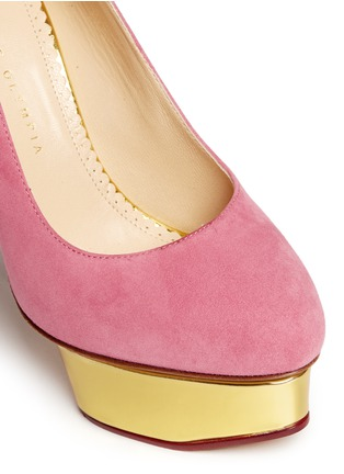 Detail View - Click To Enlarge - Charlotte Olympia - 'Dolly' suede platform pumps