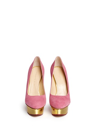 Front View - Click To Enlarge - Charlotte Olympia - 'Dolly' suede platform pumps