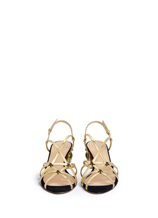 Front View - Click To Enlarge - Charlotte Olympia - 'Beth' jewel appliqué mirror leather sandals