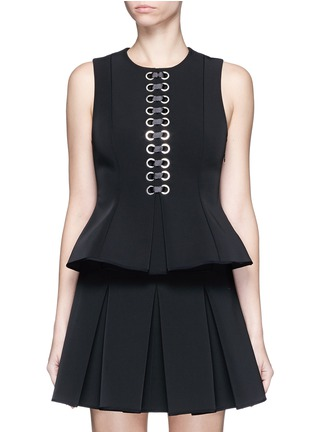 Main View - Click To Enlarge - Alexander Wang  - Lace-up peplum shell top