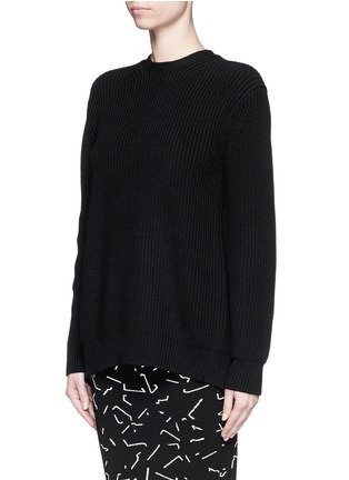Front View - Click To Enlarge - Alexander Wang  - Open back cotton blend sweater