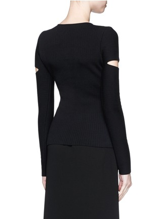 Back View - Click To Enlarge - Alexander Wang  - Slit sleeve stretch knit sweater