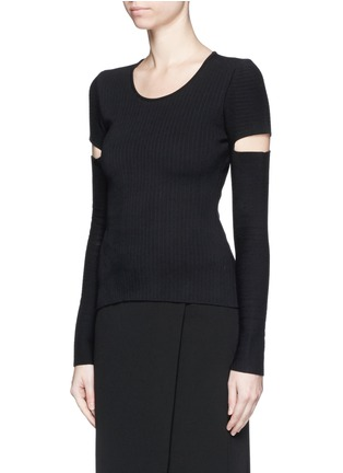 Front View - Click To Enlarge - Alexander Wang  - Slit sleeve stretch knit sweater