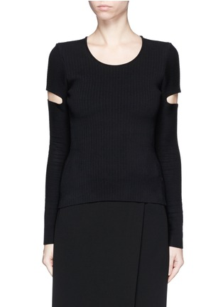Main View - Click To Enlarge - Alexander Wang  - Slit sleeve stretch knit sweater