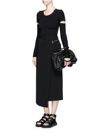 Figure View - Click To Enlarge - Alexander Wang  - Slit sleeve stretch knit sweater