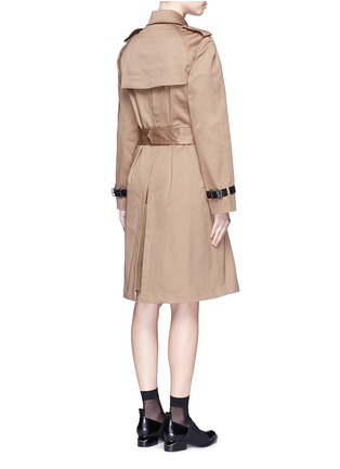 Back View - Click To Enlarge - Alexander Wang  - Leather strap oversize twill trench coat