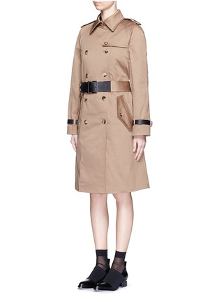 Front View - Click To Enlarge - Alexander Wang  - Leather strap oversize twill trench coat