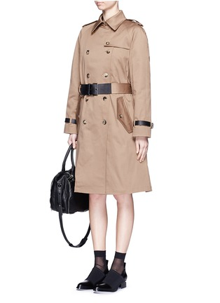 Figure View - Click To Enlarge - Alexander Wang  - Leather strap oversize twill trench coat