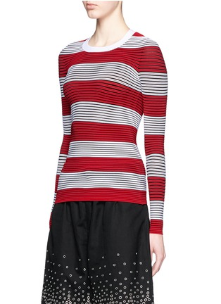 Front View - Click To Enlarge - Alexander Wang  - Tubular stripe crew neck pullover