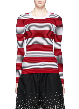 Main View - Click To Enlarge - Alexander Wang  - Tubular stripe crew neck pullover