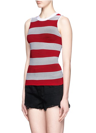 Front View - Click To Enlarge - Alexander Wang  - Tubular stripe crew neck tank top