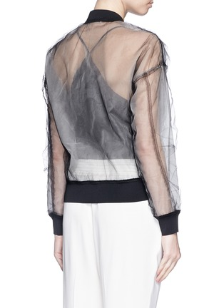 Back View - Click To Enlarge - 3.1 PHILLIP LIM - Chantilly lace insert gathered tulle bomber jacket