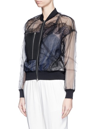 Front View - Click To Enlarge - 3.1 PHILLIP LIM - Chantilly lace insert gathered tulle bomber jacket