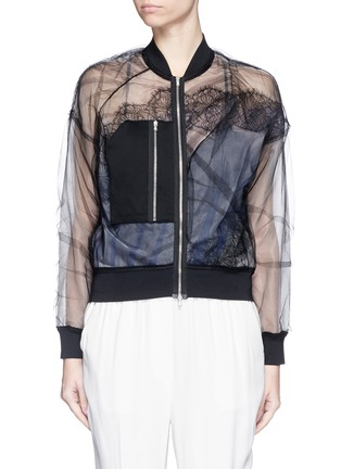 Main View - Click To Enlarge - 3.1 PHILLIP LIM - Chantilly lace insert gathered tulle bomber jacket