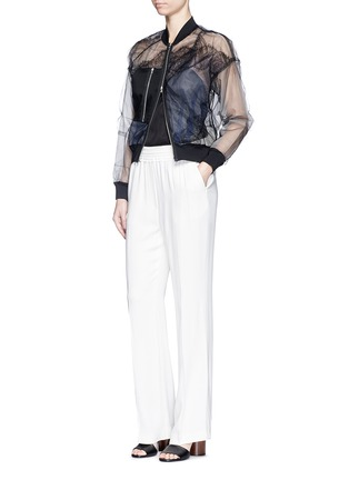 Figure View - Click To Enlarge - 3.1 PHILLIP LIM - Chantilly lace insert gathered tulle bomber jacket