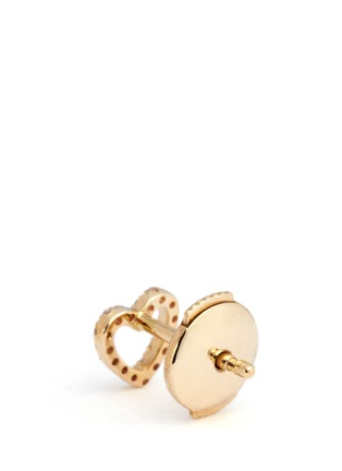 Back View - Click To Enlarge - Loquet London - Diamond 14k yellow gold heart single earring - With Love
