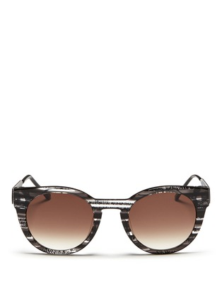 Main View - Click To Enlarge - THIERRY LASRY - 'Creamily' stripe acetate metal temple sunglasses