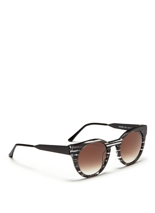 Figure View - Click To Enlarge - THIERRY LASRY - 'Creamily' stripe acetate metal temple sunglasses