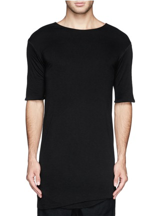 Main View - Click To Enlarge - SONG FOR THE MUTE - Asymmetric hem long double layer T-shirt