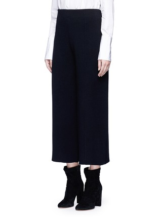 Front View - Click To Enlarge - MO&CO. EDITION 10 - Wool rib knit cropped wide leg pants