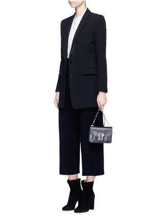 Figure View - Click To Enlarge - MO&CO. EDITION 10 - Wool rib knit cropped wide leg pants