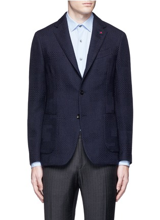 Main View - Click To Enlarge - Lardini - Python wool jacquard soft blazer