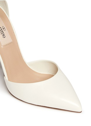 Detail View - Click To Enlarge - Valentino - 'Love Latch' grommet wraparound ankle strap leather pumps