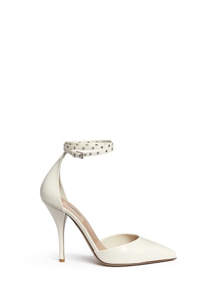 Main View - Click To Enlarge - Valentino - 'Love Latch' grommet wraparound ankle strap leather pumps