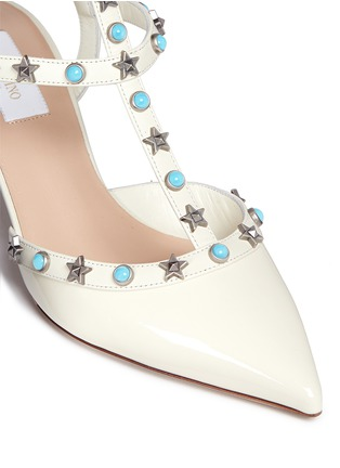 Detail View - Click To Enlarge - VALENTINO - 'Star Studded' cabochon patent leather pumps