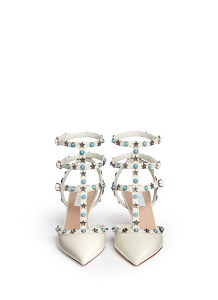 Front View - Click To Enlarge - VALENTINO - 'Star Studded' cabochon patent leather pumps