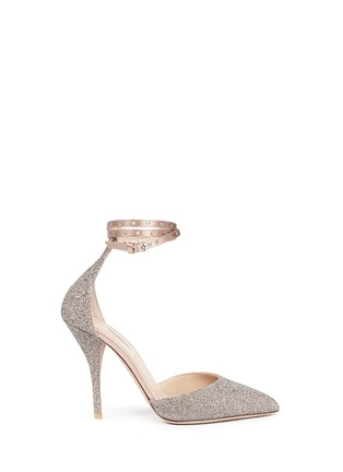Main View - Click To Enlarge - Valentino - 'Love Latch' crystal dust wraparound ankle strap pumps