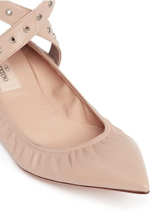 Detail View - Click To Enlarge - Valentino - 'Love Latch' cross ankle strap leather skimmer flats
