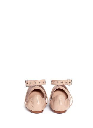 Back View - Click To Enlarge - Valentino - 'Love Latch' cross ankle strap leather skimmer flats