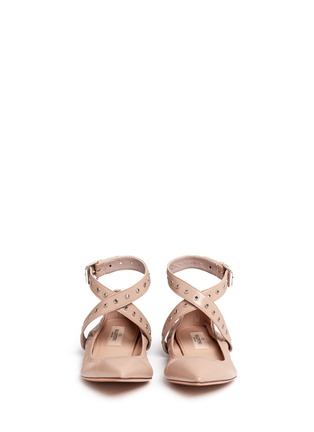 Front View - Click To Enlarge - Valentino - 'Love Latch' cross ankle strap leather skimmer flats