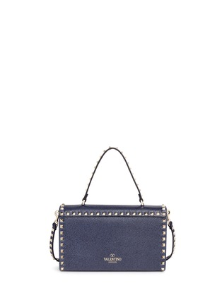 Back View - Click To Enlarge - Valentino - 'Rockstud' small denim effect leather satchel