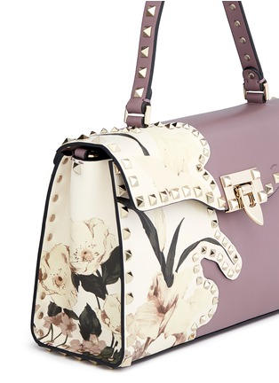 Detail View - Click To Enlarge - Valentino - 'Rockstud' floral print patch leather satchel