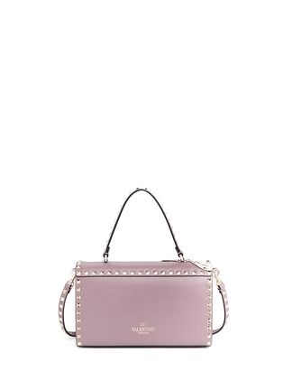 Back View - Click To Enlarge - Valentino - 'Rockstud' floral print patch leather satchel